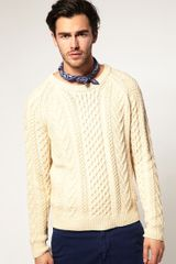 Gant Rugger Crew Neck Cable Jumper - Lyst