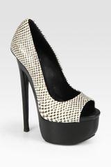 Giuseppe Zanotti Pythonprint Leather Peep Toe Platform Pumps - Lyst