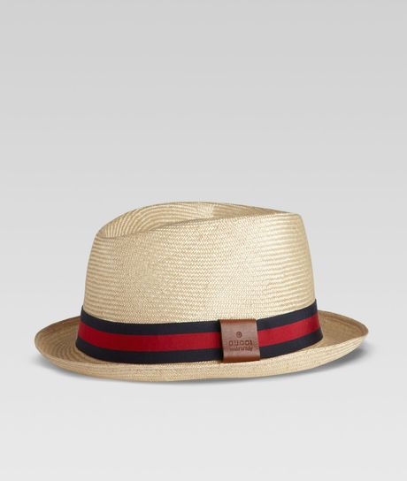 Gucci Straw Web Fedora  in Beige for Men (natural) - Lyst