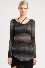 Helmut Lang Distorted Knit Pullover in Black - Lyst