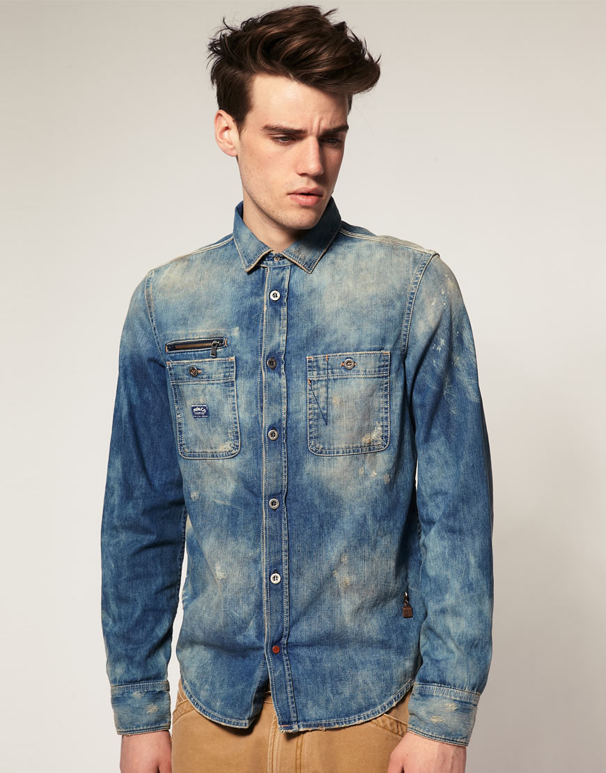 aaf366ed21b Lyst - DIESEL Diesel Roobyzip Denim Shirt in Blue for Men