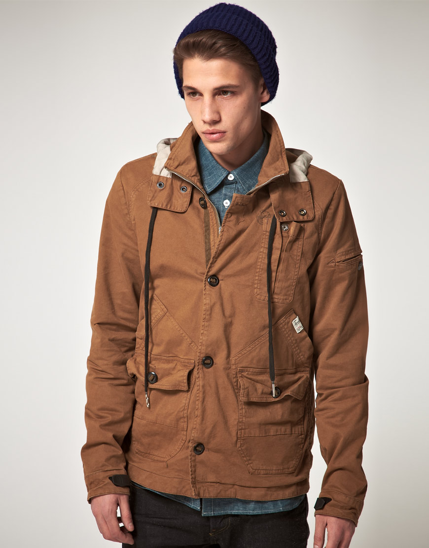 g star raw gstar ontario hooded jacket in brown for men lyst. Black Bedroom Furniture Sets. Home Design Ideas