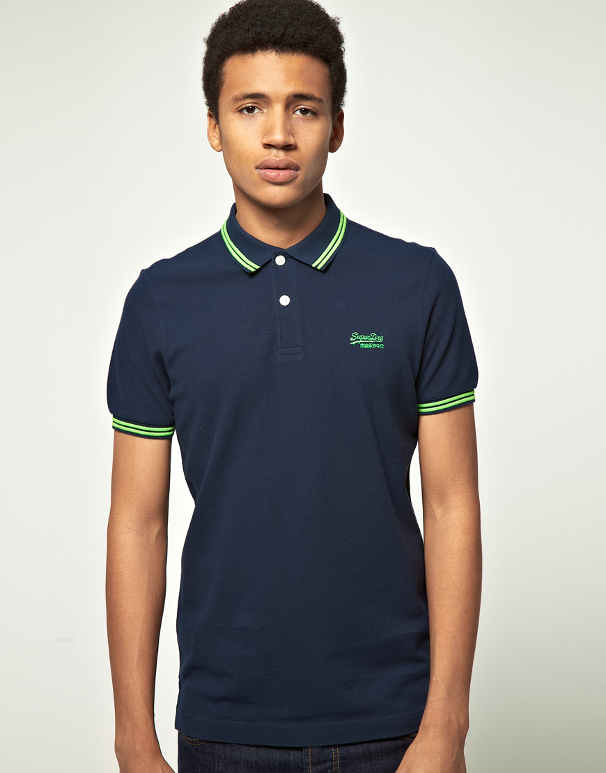 Lyst Superdry Superdry Tipped Collar Polo Shirt In Blue For Men