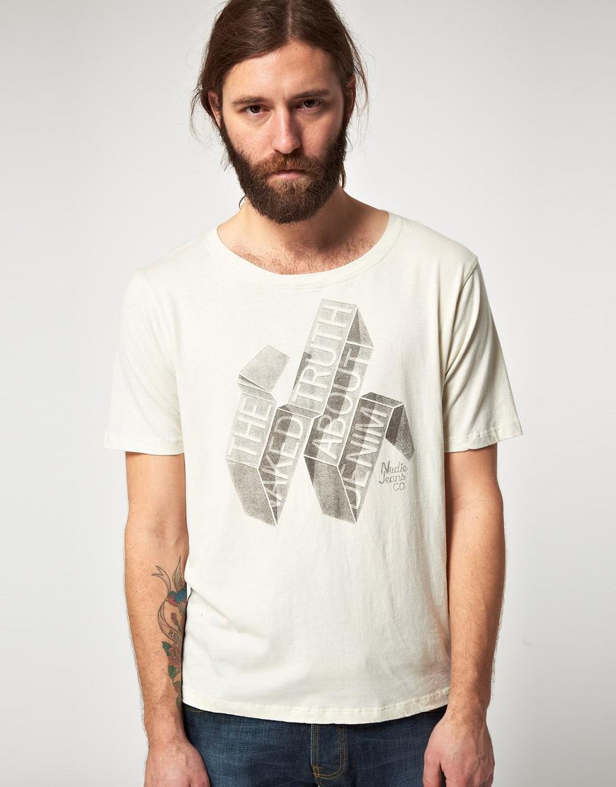 Nudie Jeans Nudie Organic Wide Neck Banderole Tshirt In