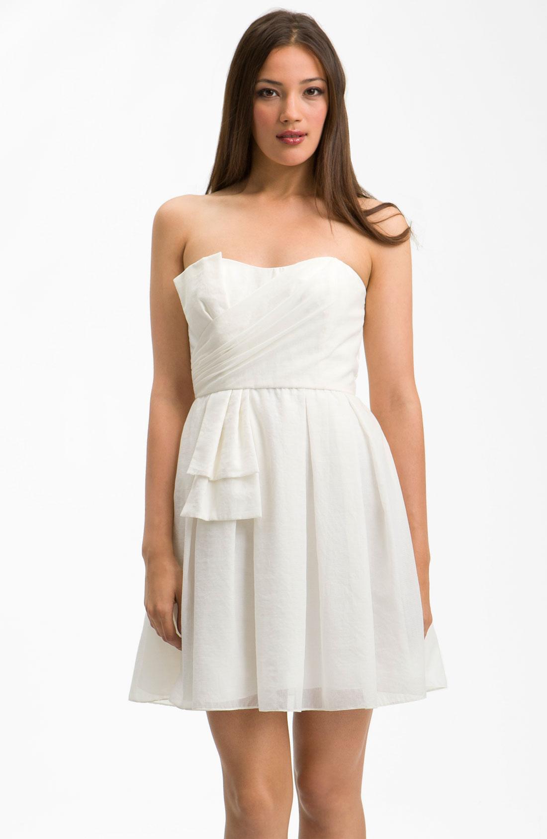 Jill Stuart Sweetheart Neckline Bow Detail Dress In White