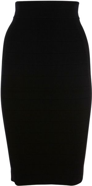 Karen Millen Bandage Knit Skirt in Black - Lyst