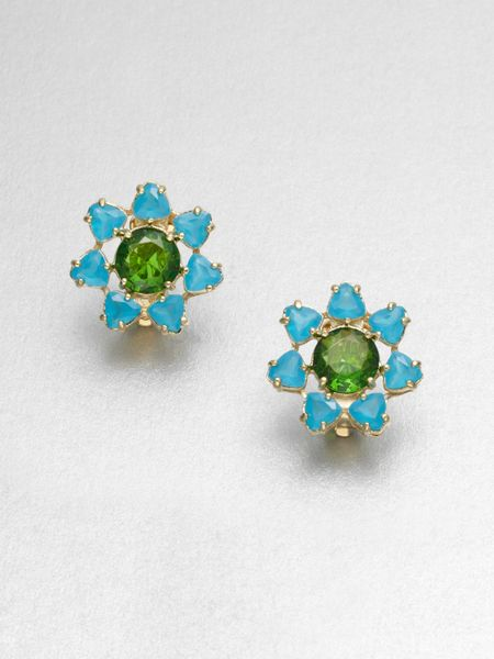 kate spade clip on earrings kate spade faceted floral stud clip on earrings in blue 3845