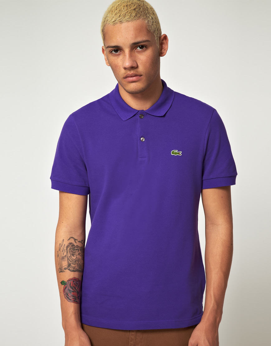 lacoste l ive lacoste live slim fit polo shirt in purple. Black Bedroom Furniture Sets. Home Design Ideas