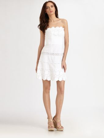 Laundry By Shelli Segal Linen Eyelet Dress - Lyst