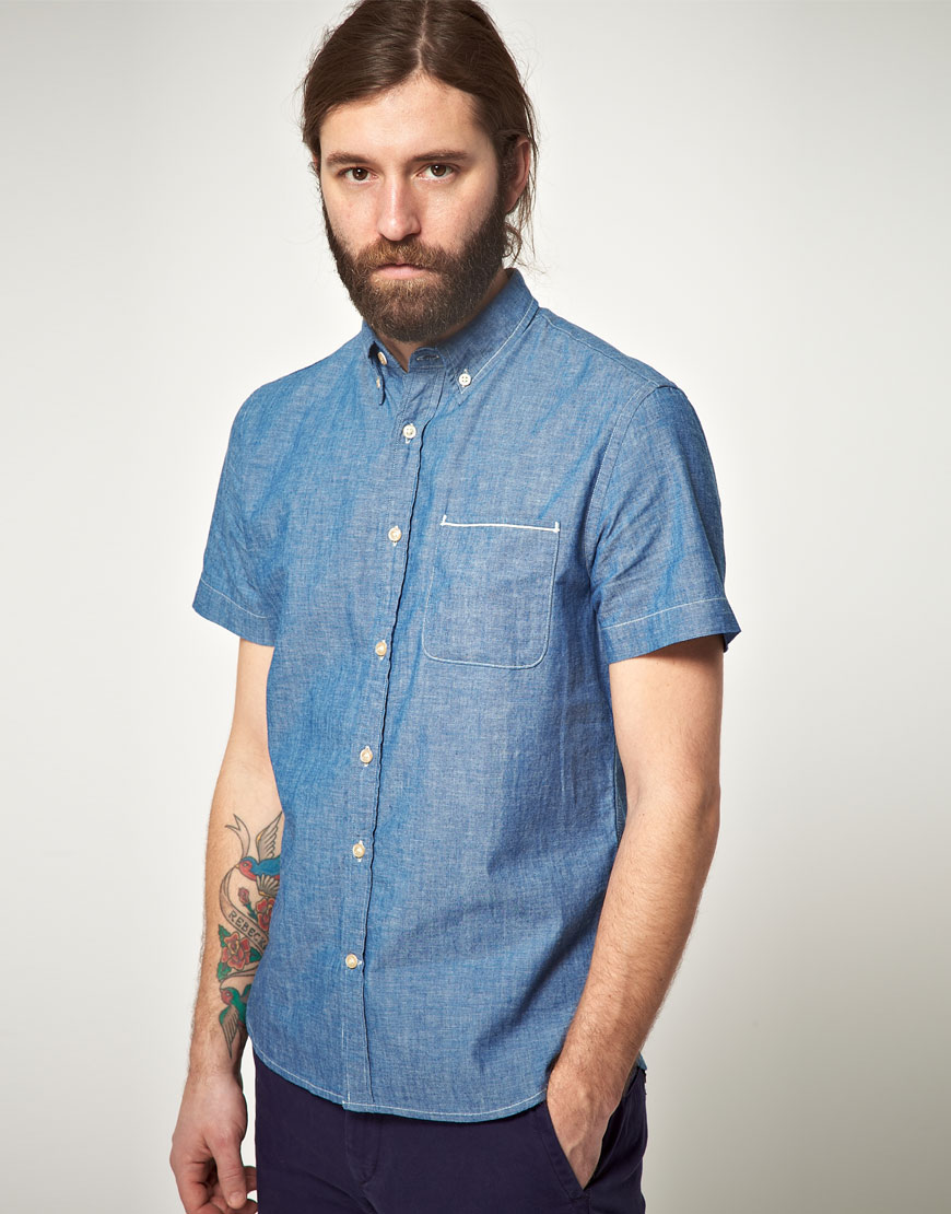 Lyst lee jeans lee 101 every man chambray short sleeve for Chambray jeans