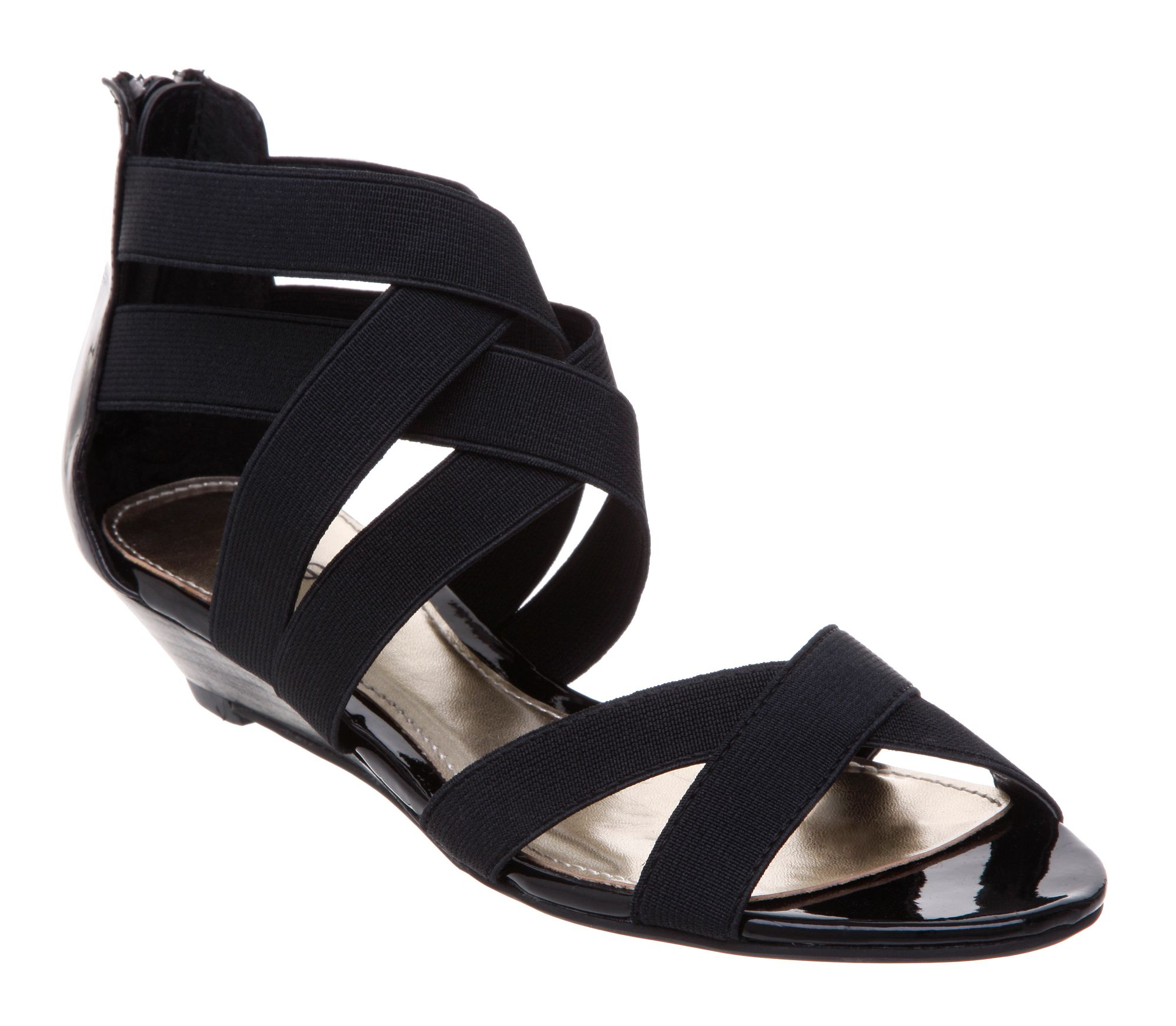 linea larry l elastic low wedge sandals in black lyst