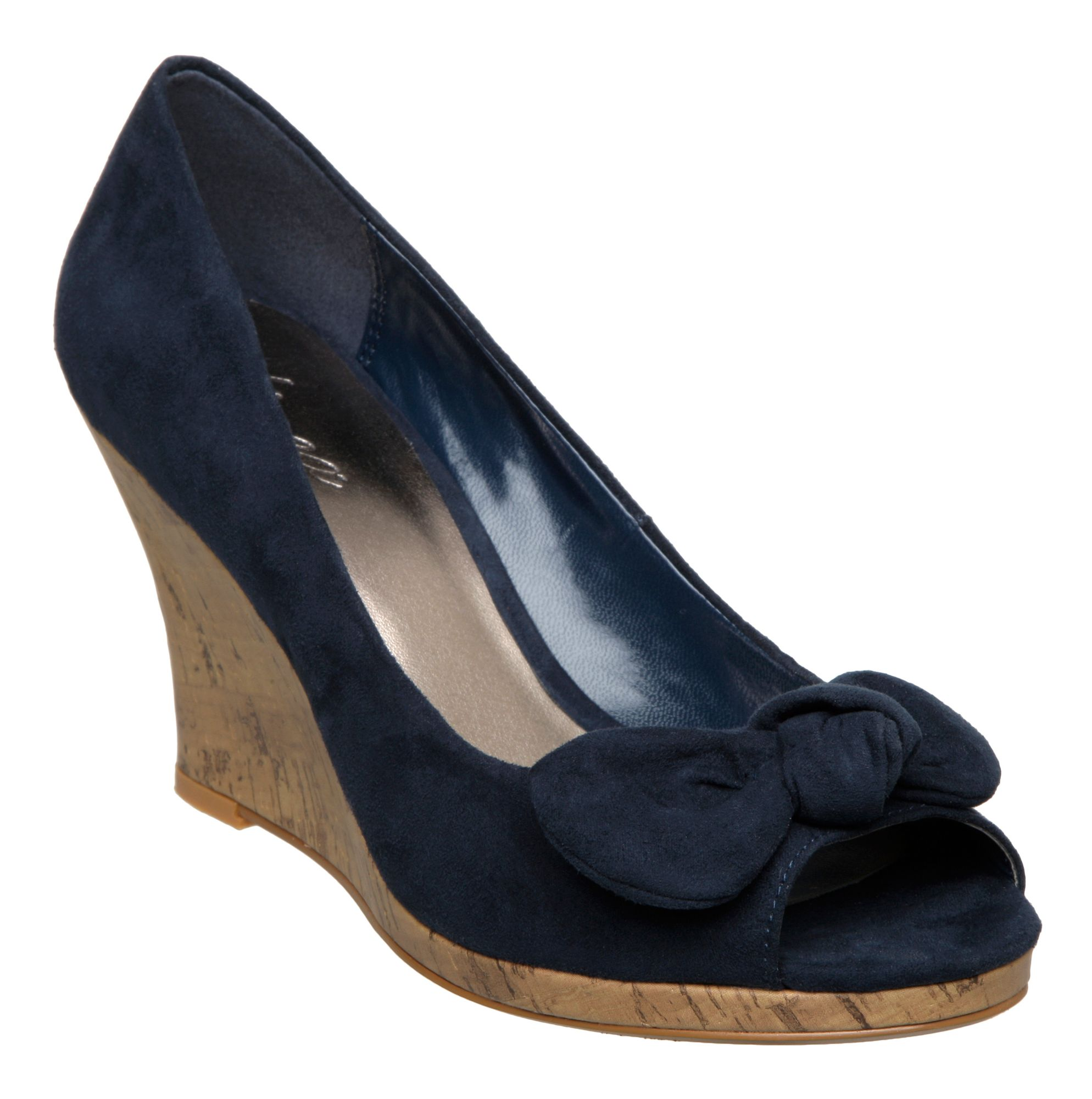 linea cancun l bow court wedge shoes in black navy lyst