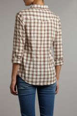 Linea Weekend Checked Shirt in Beige (coral) - Lyst