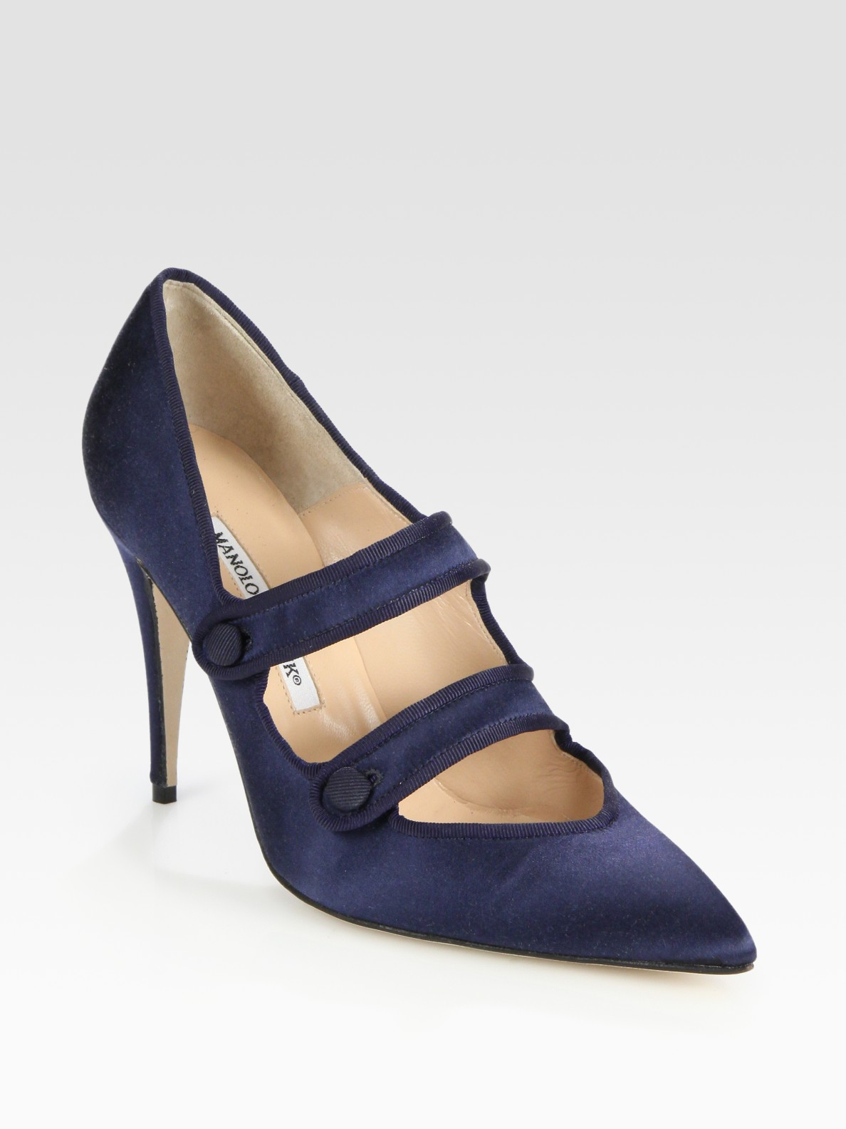 Lyst manolo blahnik satin grosgrain mary jane pumps in blue for Who is manolo blahnik