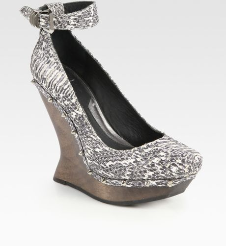 Mcq By Alexander Mcqueen Studded Snakeprint Leather Wedge Pumps in Gray (natural) - Lyst