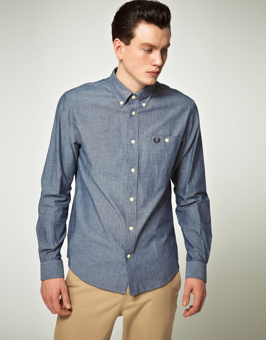 aa0613a2 Fred Perry Fred Perry Chambray Shirt in Blue for Men - Lyst