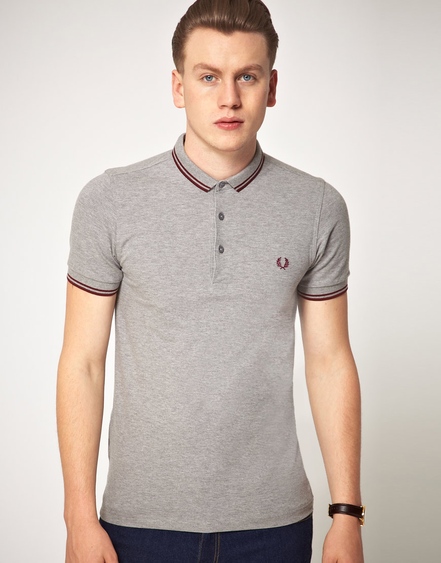 lyst fred perry fred perry slim fit micro collar polo shirt in gray for men. Black Bedroom Furniture Sets. Home Design Ideas