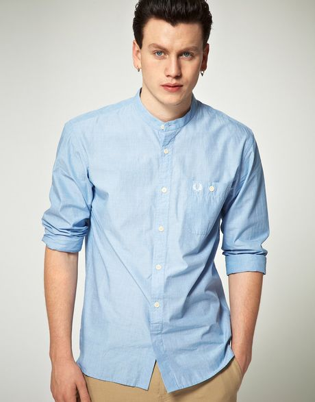 Fred perry grandad collar shirt in blue for men turquoise Mens grandad collar shirt