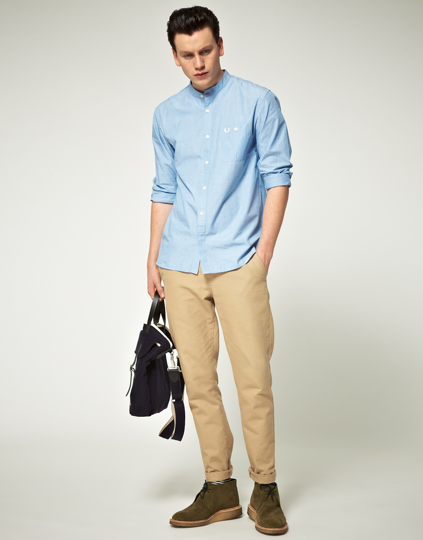 Fred perry grandad collar shirt in blue for men lyst Mens grandad collar shirt