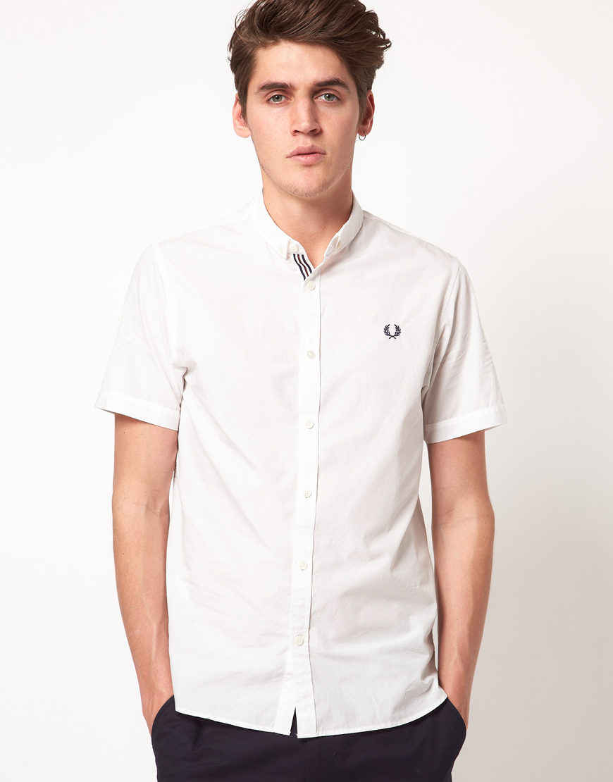 Lyst - Fred Perry End On End Short Sleeve Shirt in White ...