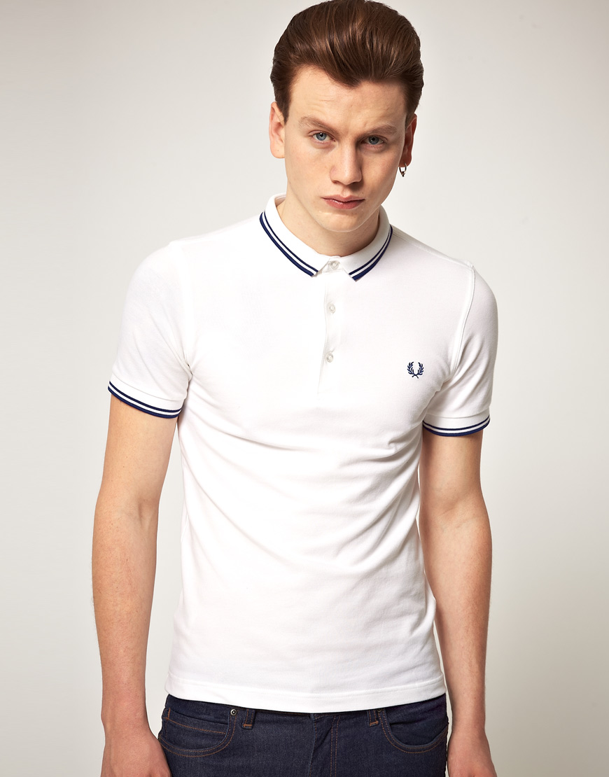 fred perry fred perry slim fit micro collar polo shirt in white for men lyst. Black Bedroom Furniture Sets. Home Design Ideas