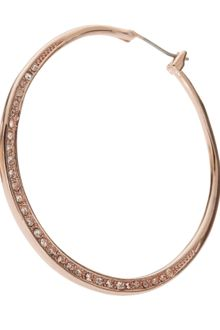 Michael Kors Shiny Pave Medium Hoop Earrings Rose Golden - Lyst