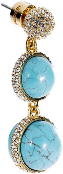 Michael Kors Turquoise Double Drop Earring with Pave Detail in Blue (turquoise) - Lyst