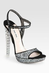 Miu Miu Glitter and Suede Jeweled Heel Sandals in Black (anthracite) - Lyst