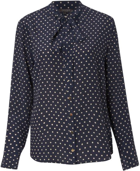 Pied A Terre Silk Polka Dot Tie Neck Blouse in Black (navy) - Lyst