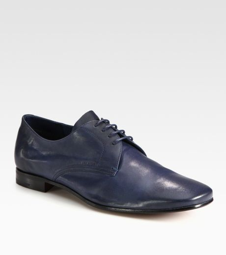 Prada Antique Leather Laceups in Blue for Men (denim) - Lyst