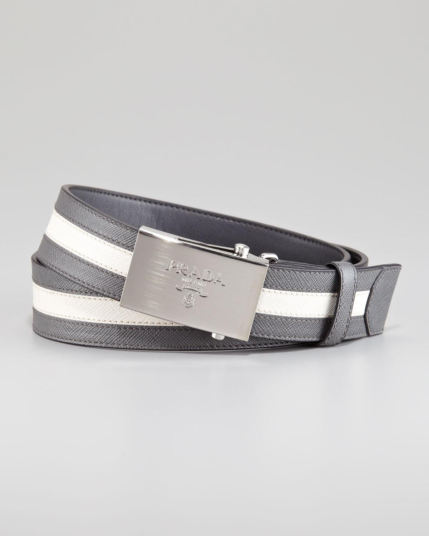 Prada Saffiano Stripe Belt Grayblack In Gray For Men (grey