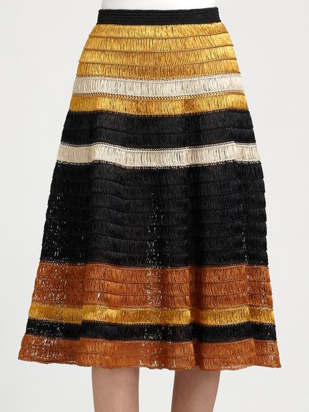Proenza Schouler Raffia Knit Skirt in Yellow (marigold) - Lyst
