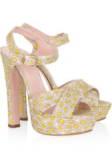 Red Valentino Printed Canvas Platform Sandals in Floral (multicolored) - Lyst