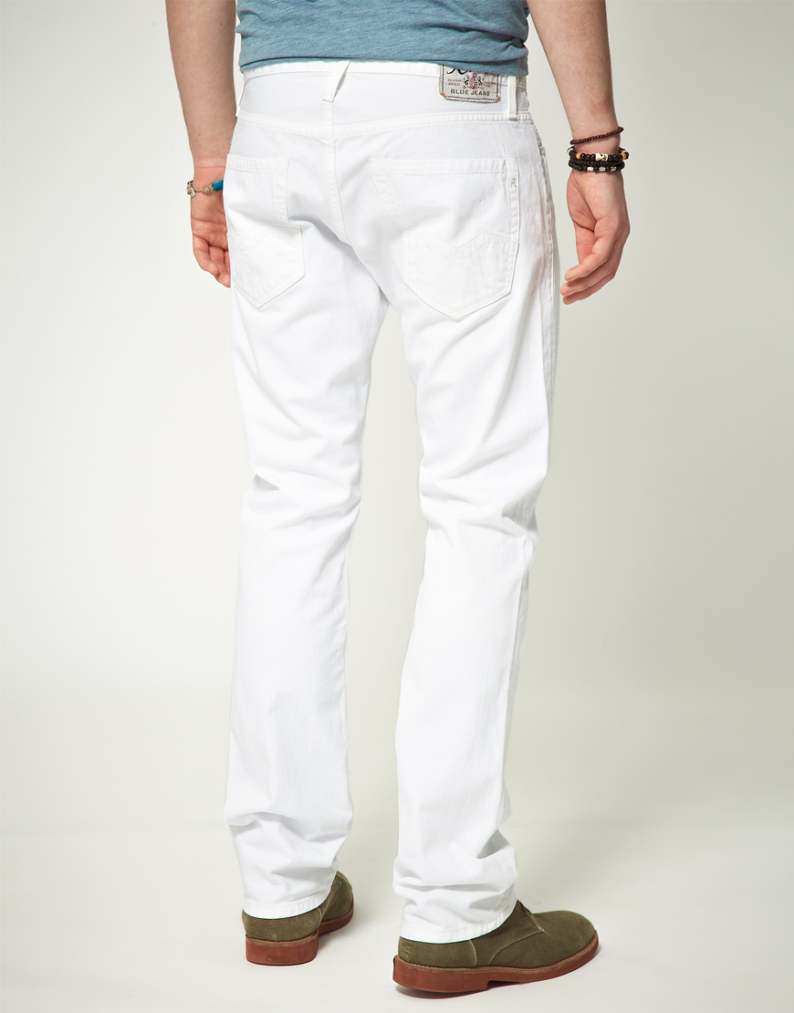 Replay Replay Waitom Regular Slim Straight Jeans in White for Men ...