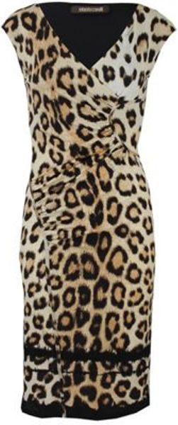 Roberto Cavalli Roberto Cavalli Dress in Animal (blk/ivry) - Lyst