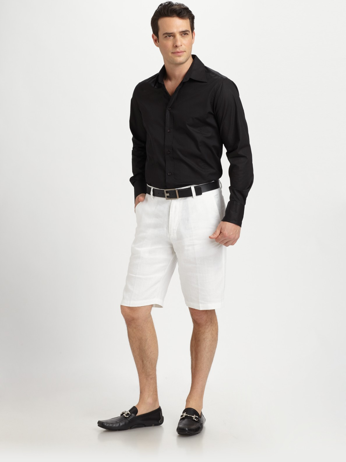 Saks fifth avenue White Linen Shorts in White for Men | Lyst