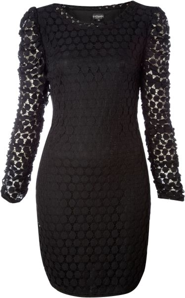 Sodamix Dorothy Crochet Sleeve Dress in Black - Lyst