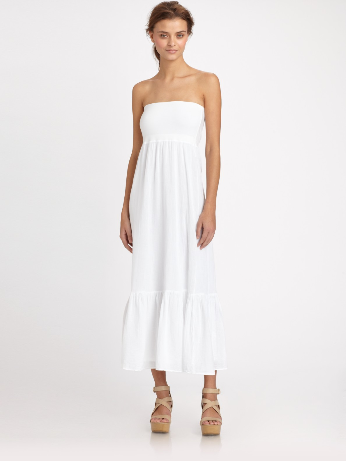 Splendid Convertible Cotton Tube Maxi Dress in White | Lyst