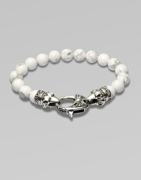 Stephen Webster Ravens Head Beaded Bracelet in White for Men - Lyst