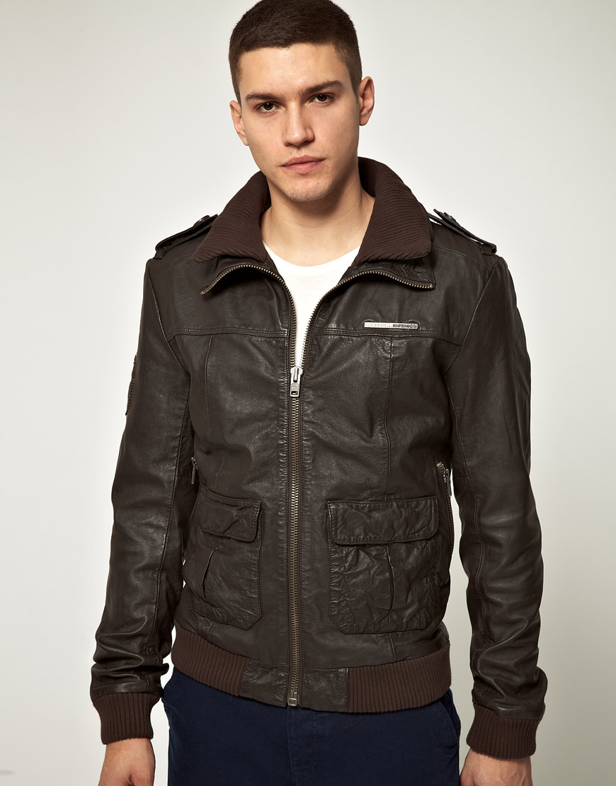 superdry superdry brad lite leather bomber in brown for