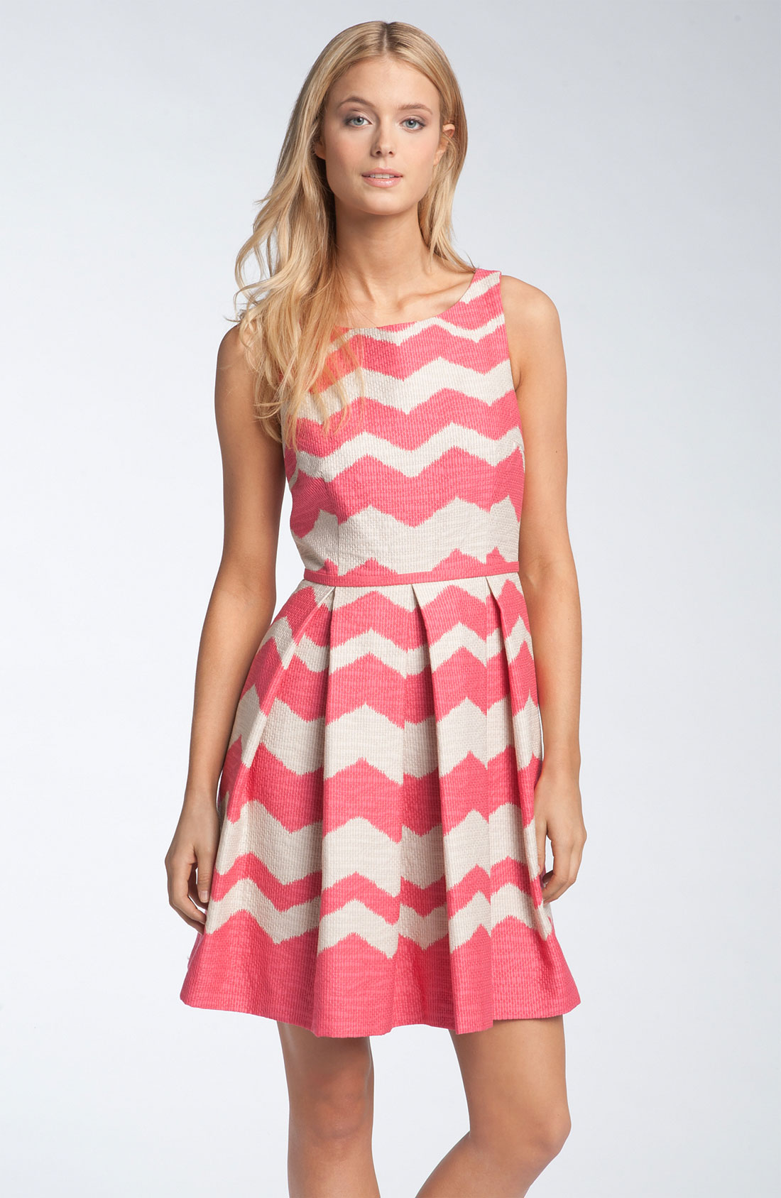Taylor Dresses Zigzag Fit Flare Dress In Multicolor Tulip