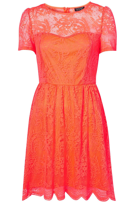 Lyst Topshop Neon Lace Flippy Dress In Orange