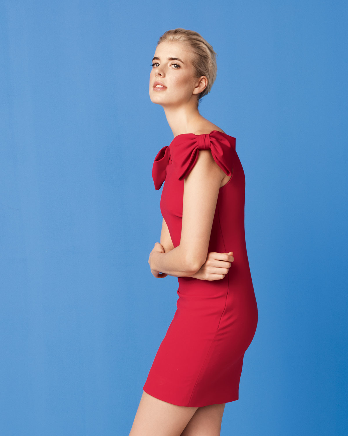 Lyst - Valentino Bow-sleeve Dress in Red