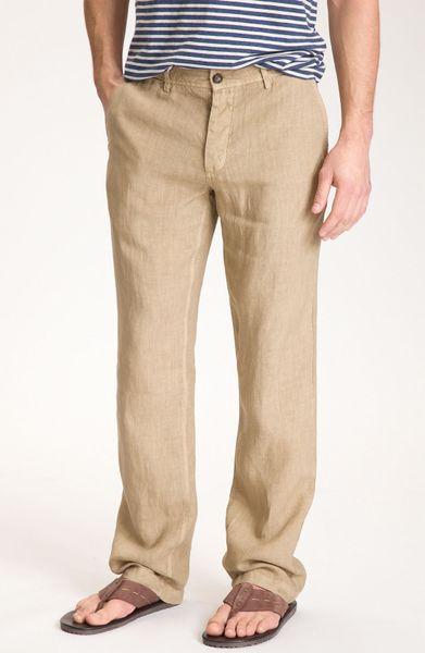 Vince Linen Pants In Khaki For Men Lyst