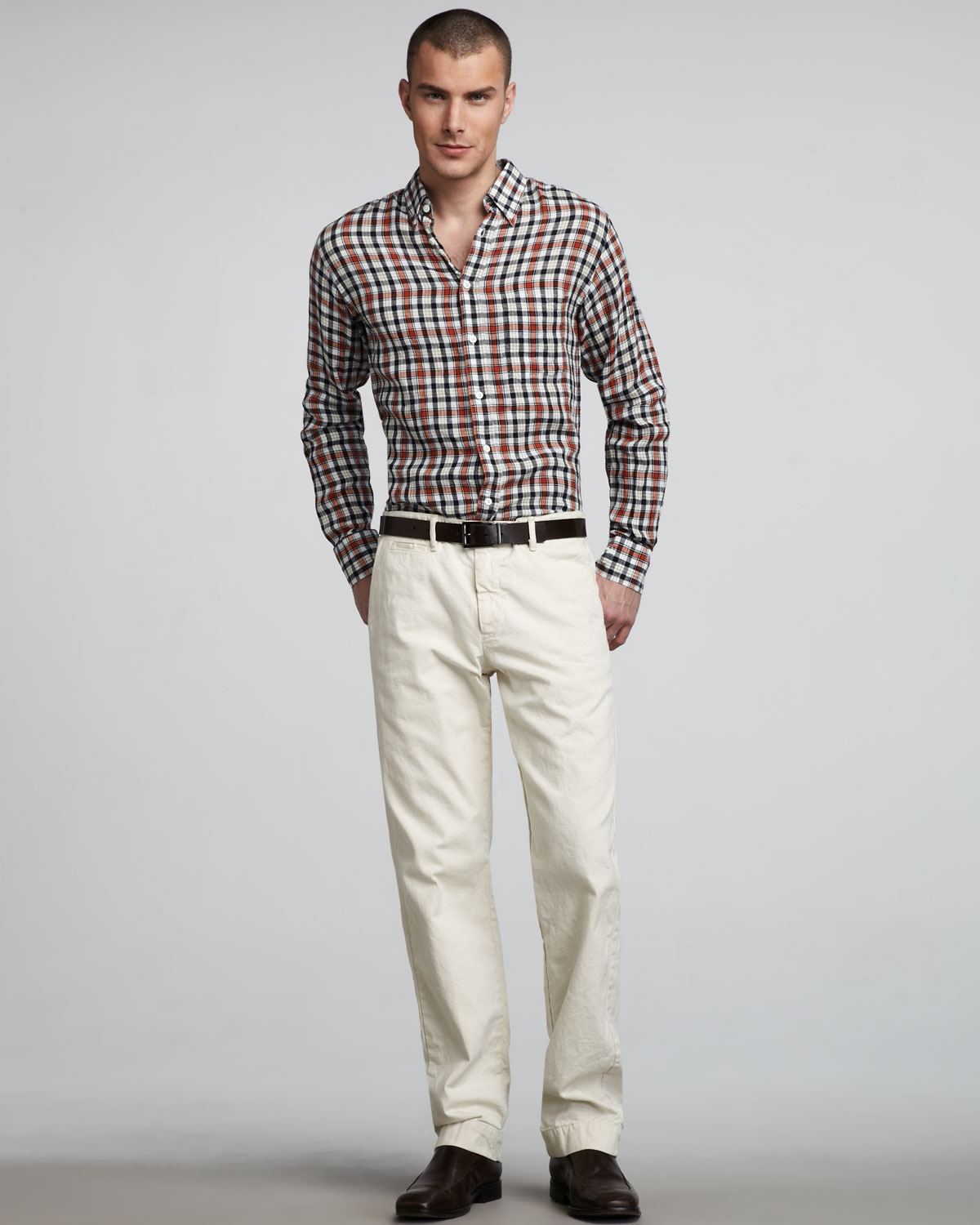 Billy reid Jack Chino Pants Offwhite in White for Men | Lyst