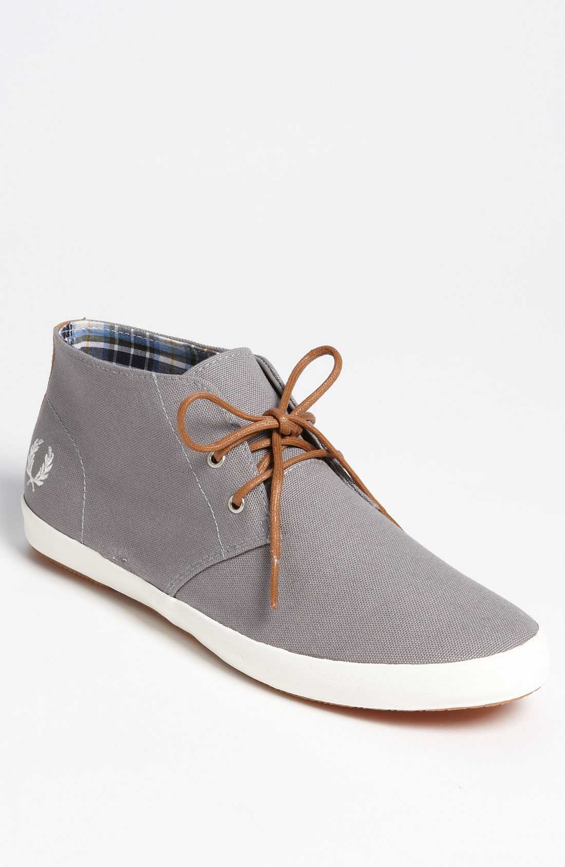 fred perry byron mid sneaker in gray for men cloudburst. Black Bedroom Furniture Sets. Home Design Ideas