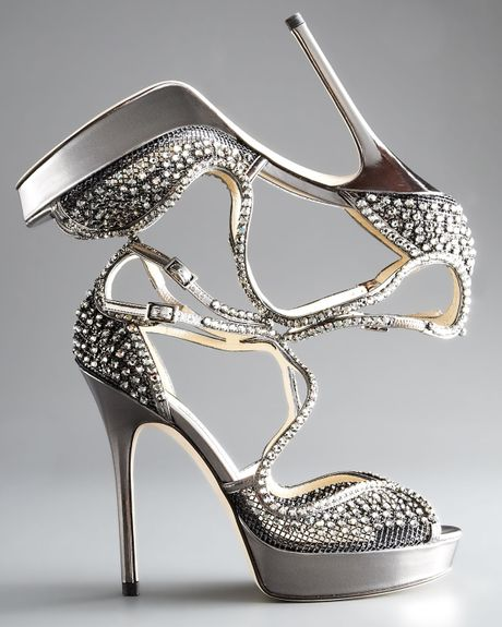 Jimmy Choo Fairview Crystalmesh Platform Sandal in Gray (anthracite) - Lyst