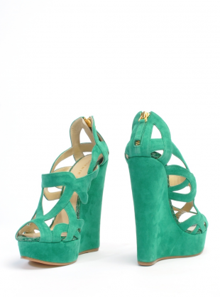 Lyst Sophie Gittins Iona Wedges In Emerald Green By