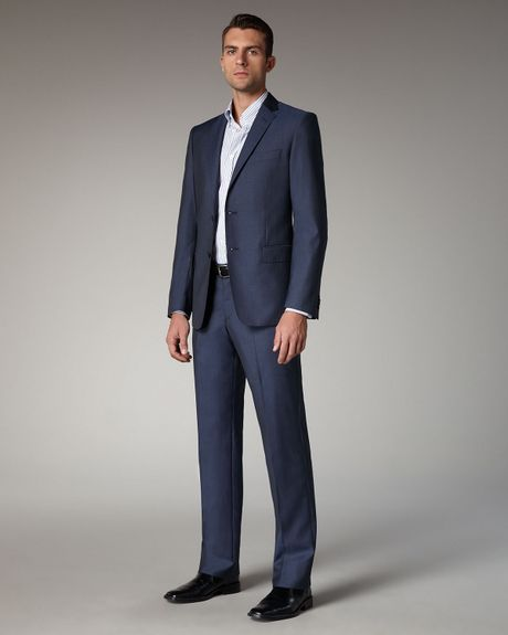 Versace Twobutton Woolsilk Suit in Blue for Men - Lyst