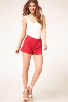 Asos Asos Lace Short with Scallop Edge - Lyst